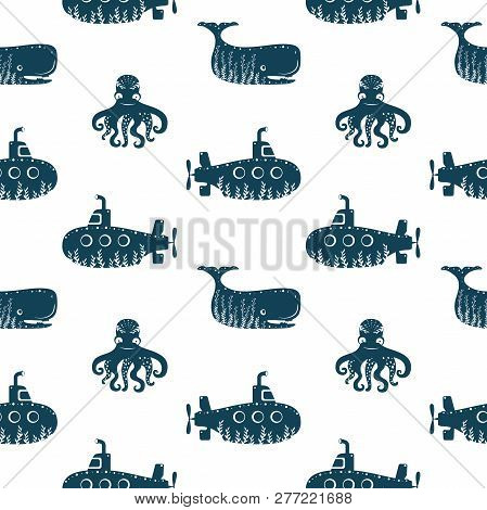 Sea Ocean Simple Styling Seamless Pattern Print With Submarine, Octopus And While. Two Color. Print