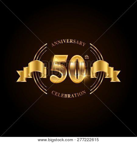 50 Years Anniversary Celebration Logotype. Golden Anniversary Emblem With Ribbon. Design For Booklet