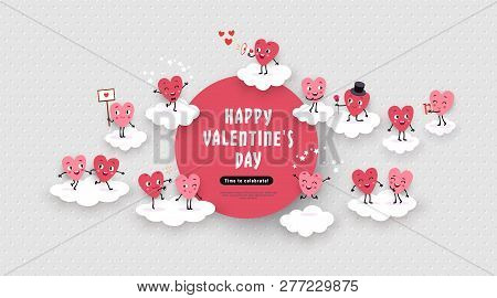 Happy Valentines Day Festive Advertising Design. 3d Paper Cut Animated Couples Of Loving Hearts, Clo