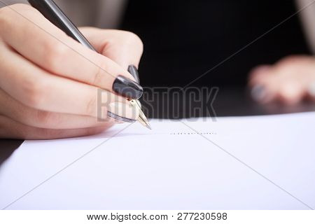 customer signing contract, agreed terms and approved application and analyzing valuation home loan, meeting with bank worker or real estate agent poster