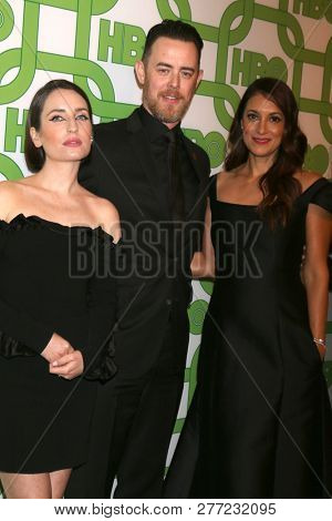 LOS ANGELES - JAN 6:  Zoe Lister-Jones, Colin Hanks, Angelique Cabral at the 2019 HBO Post Golden Globe Party at the Beverly Hilton Hotel on January 6, 2019 in Beverly Hills, CA