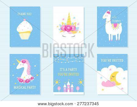 Kids Slumber And Birthday Party Invites. Unicorn, Llama And Cupcake Themes. Vector Design