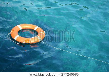 Orange Lifeline Thrown Into The Ionian Sea.