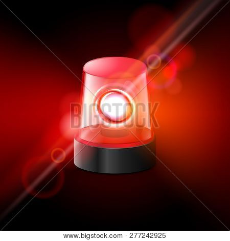 Red Flashing Police Beacon Alarm. Police Light Siren Emergency Equipment. Danger Flash Ambulance Bea