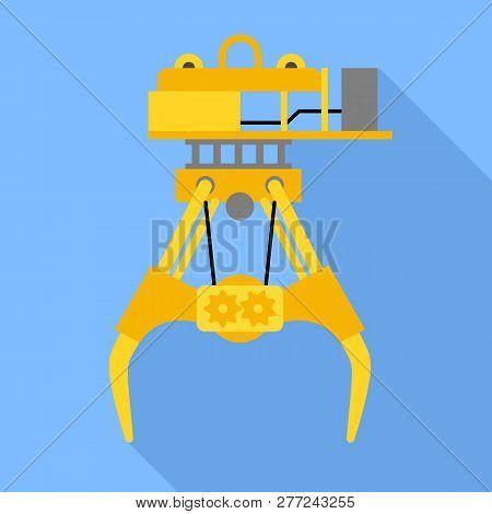 Seaport Lift Crane Icon. Flat Illustration Of Seaport Lift Crane Vector Icon For Web Design