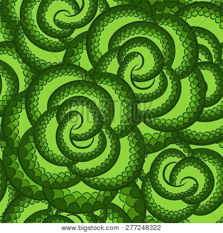 Vector Snake Pattern Ornament For Textile Fabric.