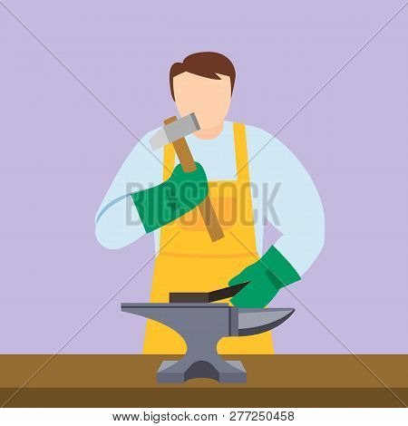 Anvil blacksmith icon. Flat illustration of anvil blacksmith vector icon for web design poster