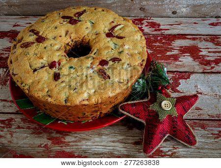 Tradition homemade Christmas fruitcake.