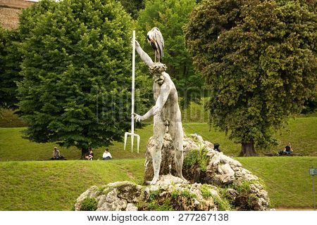 Florence, Italy - May 21, 2018: Neptune Fountain In The Center Of The Boboli Gardens. Statue Made By