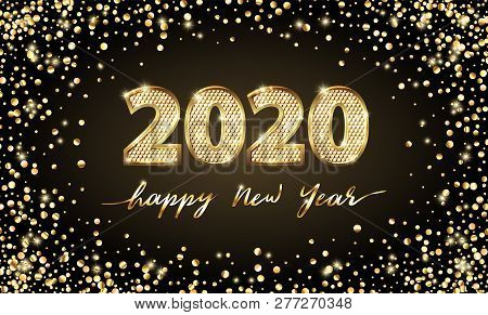 Golden Vector Luxury Text 2020 Happy New Year. Gold Festive Numbers Design, Diamonds Texture. Gold S
