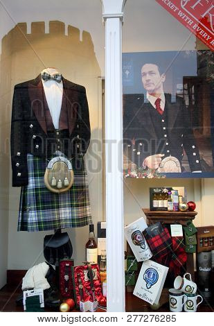 Windsor, England - January 01, 2015: Traditional Scottish Kilt And Jacket With Other Gifts And Acces