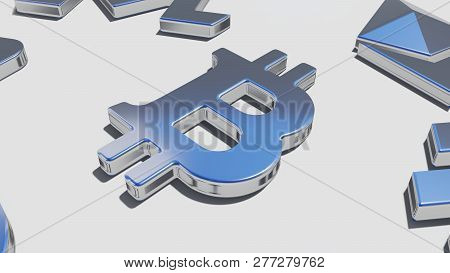 Bitcoin Silver Symbol On The White Background, 3d Rendering
