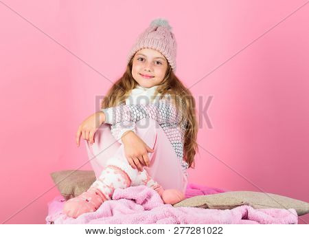 Keep Warm And Comfortable. Warm Accessories That Will Keep You Cozy This Winter. Kid Girl Wear Knitt