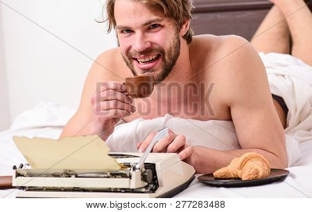 Daily Routine Of Writer. Writer Handsome Author Used Old Fashioned Manual Typewriter. Man Writer Lay