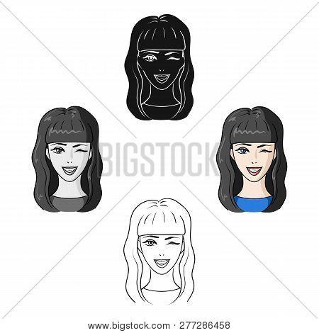 Avatar Girl With Long Dark Hair.avatar And Face Single Icon In Cartoon Style Vector Symbol Stock Ill