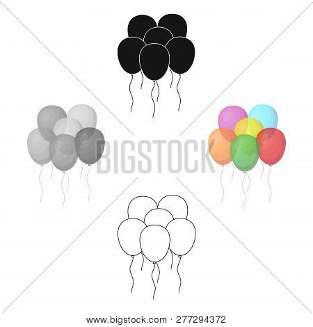 Multicolored Inable Balls.party And Parties Single Icon In Cartoon Style Vector Symbol Stock Illustr