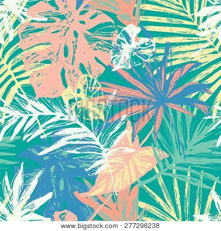 Hand Drawn Grunge Textured Tropical Leaves Seamless Pattern. Tropical Leaf Silhouette Elements Backg