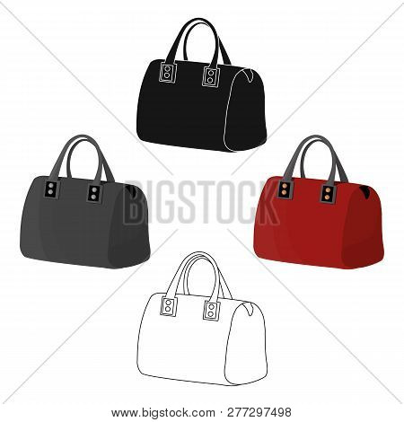 Red Ladys Bag With Handles. Ladies Accessory Items.  Woman Clothes Single Icon In Cartoon Style Vect