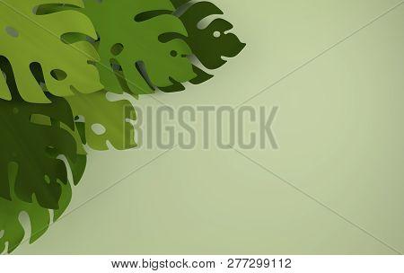 Tropical Paper Palm Leaves Frame. Summer Tropical Green Leaf. Origami Exotic Hawaiian Jungle Foliage