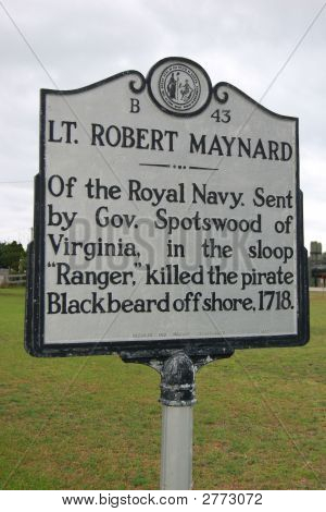 Historical Sign - Death Of Blackbeard The Pirate