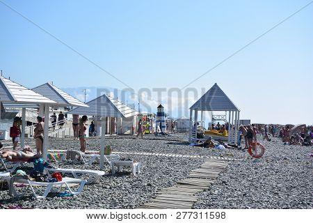 Sochi, Russia October 4, 2016: View Of The Beach In The Sochi, Russia