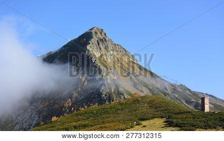 Krasnaya Polyana, Sochi, Russia, October 7, 2016: Сlimb To The Top Of The Black Pyramid, Sochi, Russ