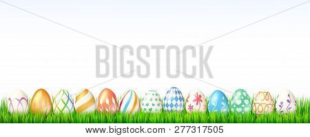 Collection Of Easter Eggs On White Background. Decoration For Spring Celebration Of Easter With Hand