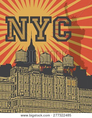 Manhattan, New York City, Silhouette Illustration In Flat Design, T-shirt Print Design Or Poster, Ve