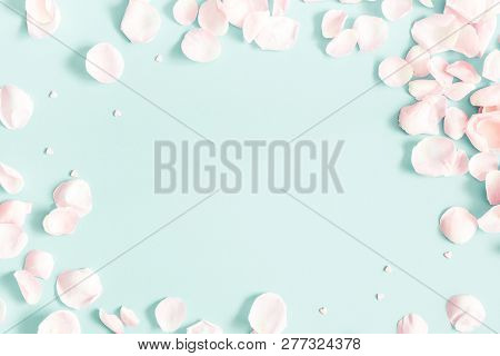 Flowers Composition. Rose Flower Petals On Pastel Blue Background. Valentine's Day, Mother's Day Con