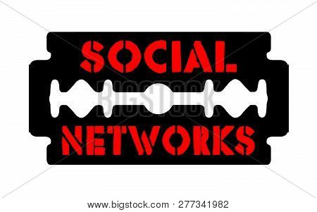 social networks on the blade schematic background poster