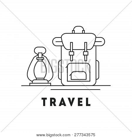Line Icon With Summer Holiday Activity Concept. Backpacking And Traveling Theme. Backpack With Keros