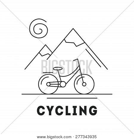 Line Icon With Summer Holiday Activity Concept. Landscapes With Mountains, Sun And Bicycle. Mountain