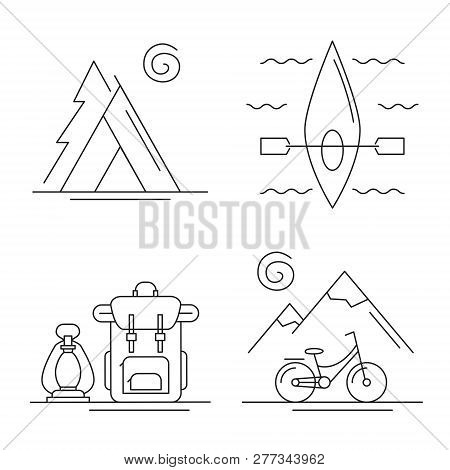 Line Icons With Camping, Traveling And Activities Concept Set. Landscapes With Mountains And Bicycle