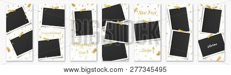 Social Network Stories Background Template Set With Photo Frames, Adhesive Tape, Golden Confetti And