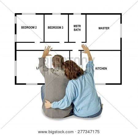 Beautiful Happy Couple Dreaming Of Buying And Design Their Future First House
