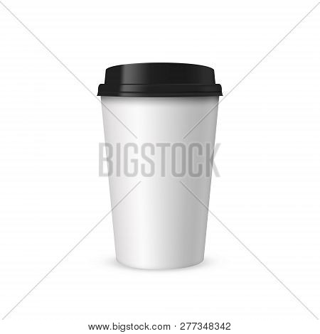 Blank Realistic Coffee Or Tea White Papet Cup Mockup With Black Cover. Template For Brand Design. Ve