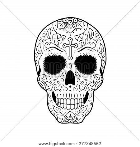 Black And White Day Of The Dead Sugar Skull With Detailed Floral Ornament. Mexican Symbol Calavera.