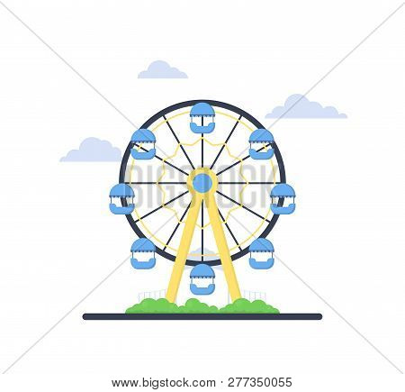 Colorful Ferris Wheel From Amusement Park With Green Bush And Blue Clouds On White Background. Famil