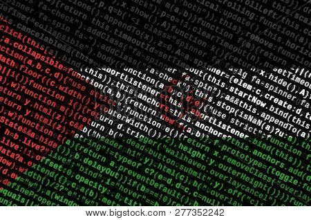 Western Sahara Flag  Is Depicted On The Screen With The Program Code. The Concept Of Modern Technolo