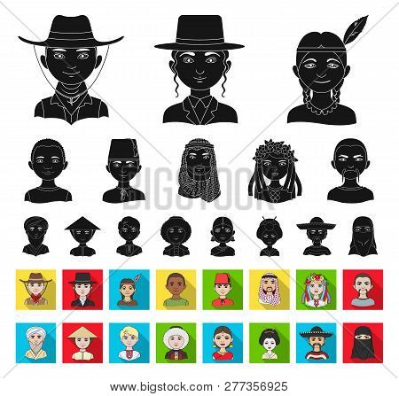 The Human Race Black, Flat Icons In Set Collection For Design. People And Nationality Vector Symbol
