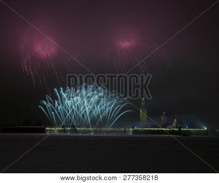 Fireworks In The Night Sky Of Petersburg