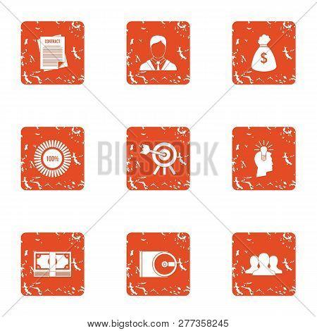 Task Icons Set. Grunge Set Of 9 Task Icons For Web Isolated On White Background