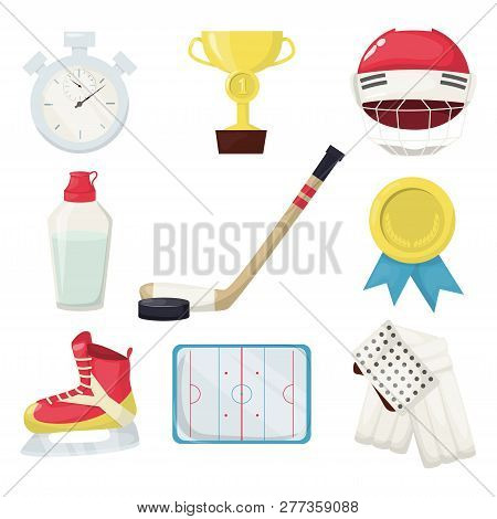Hockey Players Shoot Puck And Attacks Winter Sports Ice Equipment Vectorillustration. Professional G