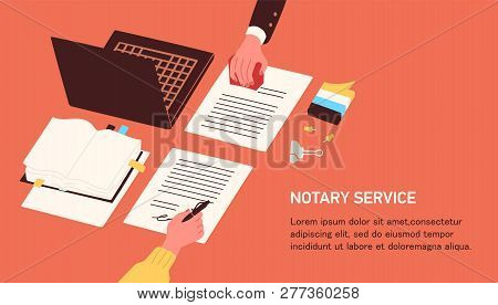 Notary Service Advertisement. Horizontal Web Banner Template With Hands Witnessing Legal Documents B