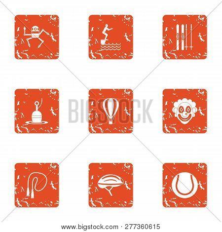 Physical Academic Icons Set. Grunge Set Of 9 Physical Academic Icons For Web Isolated On White Backg