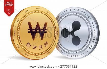 Ripple. Won. 3d Isometric Physical Coins. Korea Won Coin With The Text In Korean Bank Of Korea. Cryp