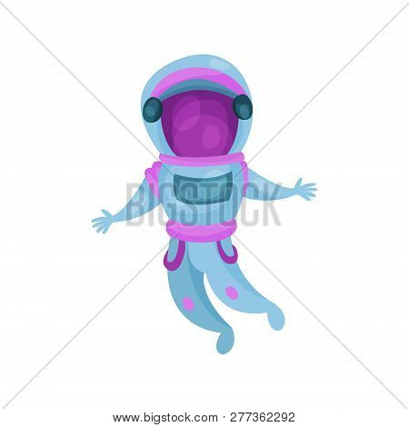 Astronaut Character In Space Suit, Spaceman Flying In Space Cartoon Vector Illustration