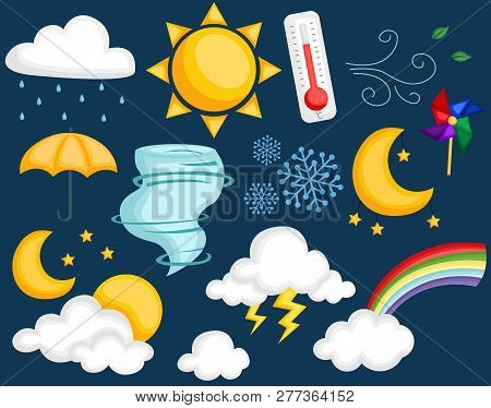 Weather Image Set With Many Type Of Weather