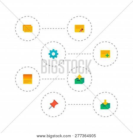 Set Of Management Icons Flat Style Symbols With Edit Task, Archive, Add Task And Other Icons For You