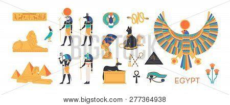 Ancient Egypt Set - Gods, Deities Of Egyptian Pantheon, Mythological Creatures, Sacred Animals, Holy